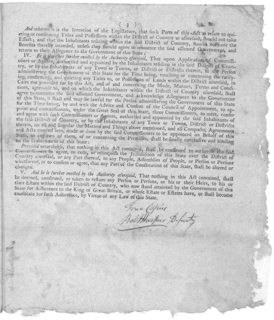 State of New York. An act for pardoning certain offences committed in the North-eastern part of this state. Passed 14th of April, 1782. [Followed by] An act for quieting the minds of the inhabitants in the north-eastern part of this state. Passe