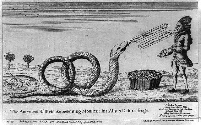 The American rattlesnake presenting Monsieur his ally a dish of frogs