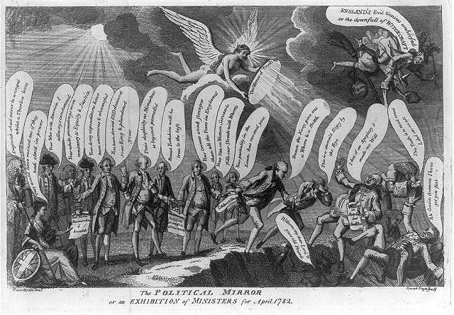 The political mirror or an exhibition of ministers for April 1782 / Razo Rezio inv ; Crunk Fogo sculp.