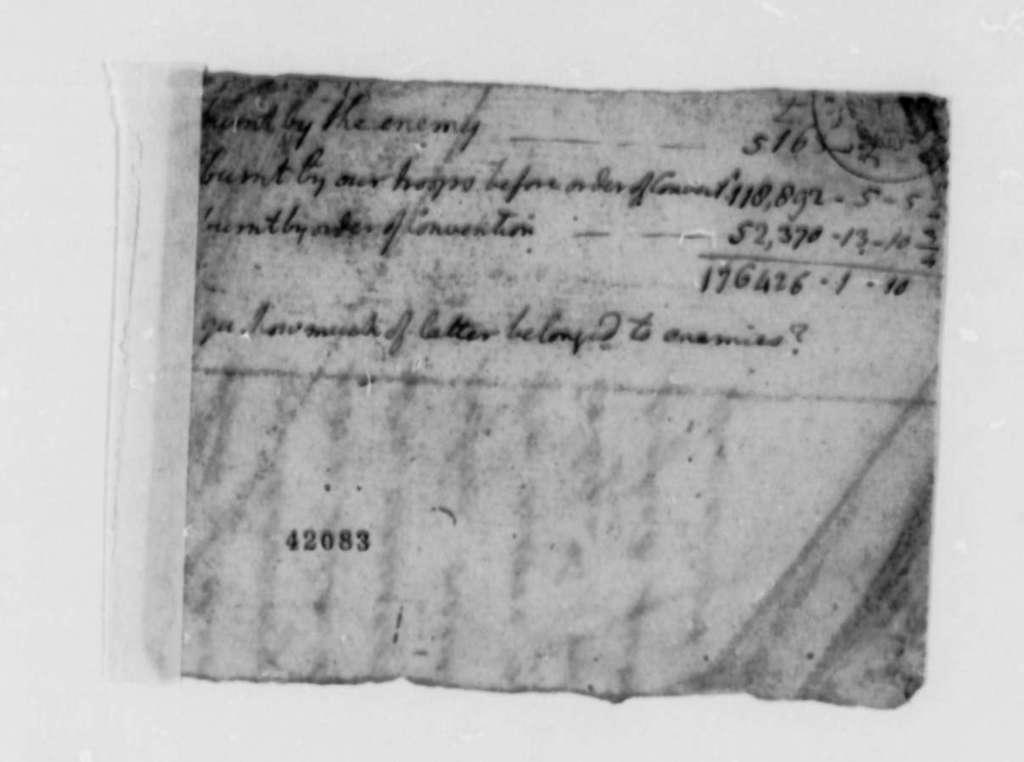 Thomas Jefferson, November 30, 1782, Note Listing Burnt Property