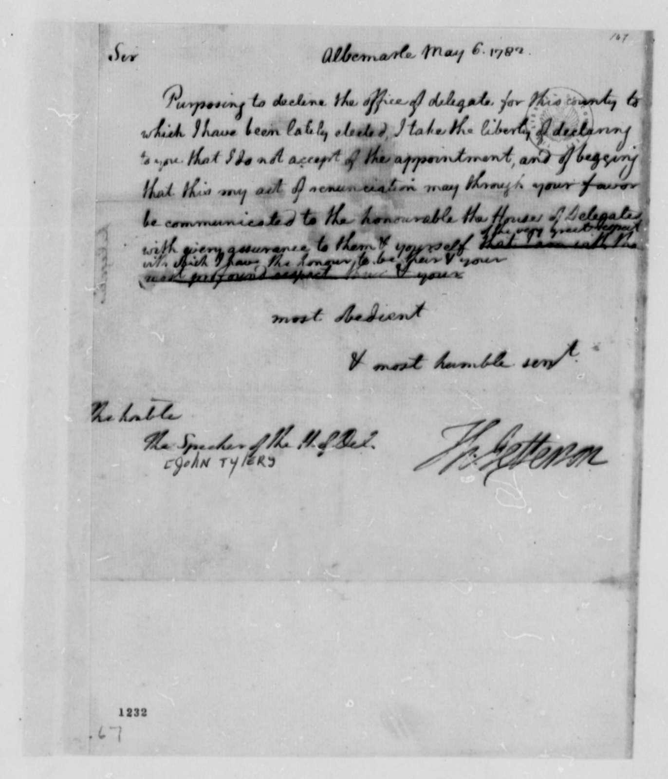 Thomas Jefferson to John Tyler, May 6, 1782