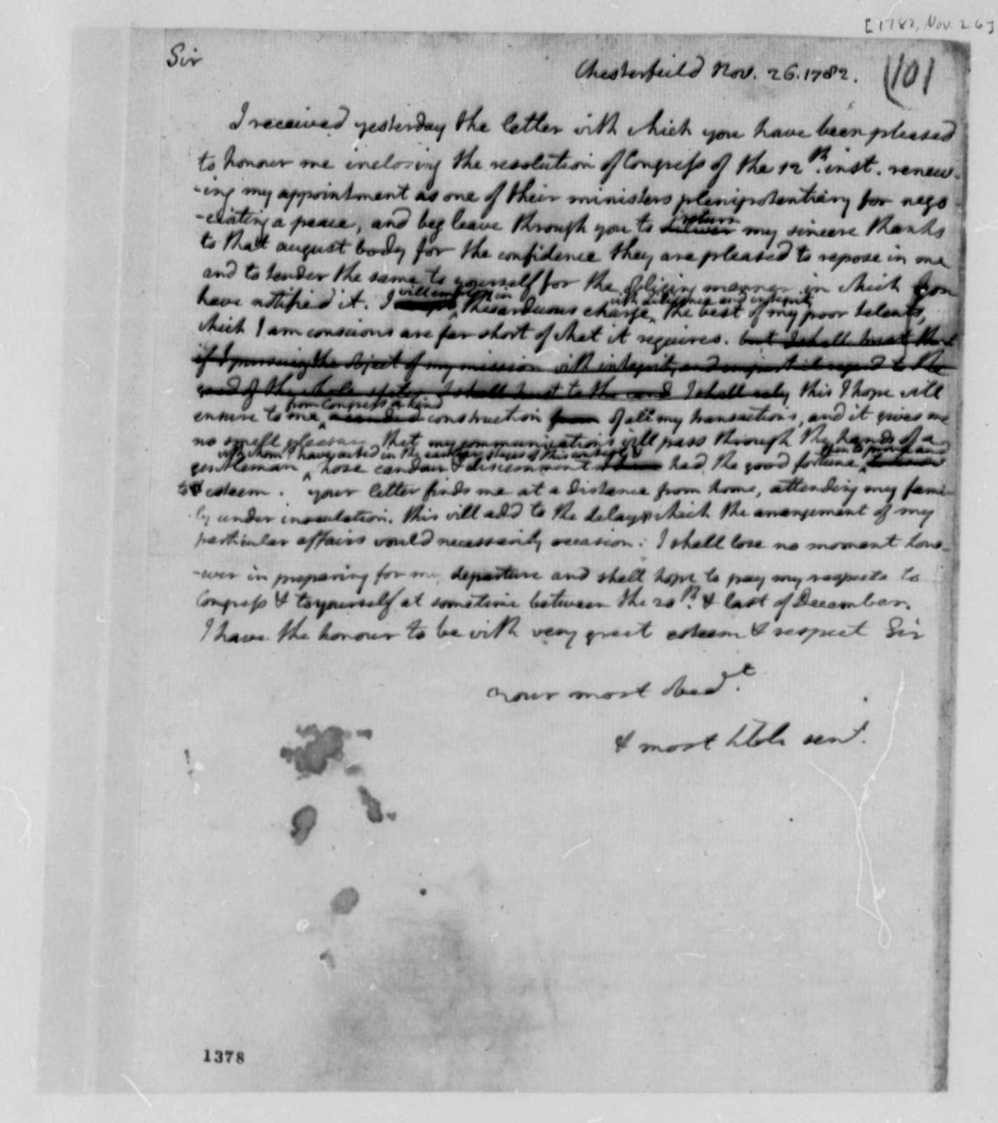 Thomas Jefferson to Robert R. Livingston, November 26, 1782