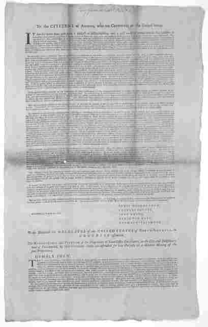 To the citizens of America, who are creditors of the United States [Signed by the following public creditors] Blair McClenachan, Charles Pettit, John Ewing, Benjamin Rush, Thomas Fitzsimons] [Philadelphia, 1782].