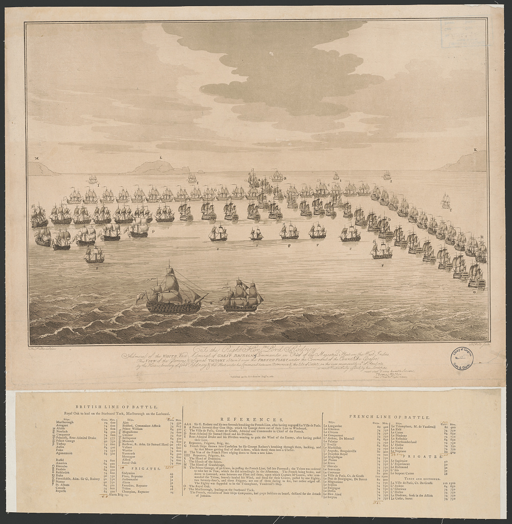 To the right honble. Lord Rodney admiral of the White, vice admiral of Great Britain, Commander in Chief of his majesties fleet in the West Indies, this view of the glorious & signal victory obtain'd over the French fleet ... is most respectfuly offered by his lordships most obedt. & very humble servant Thomas Walker Lieut. 2d Battn. 60th light Infantry / Thos. Walker delin. ; Jno. Wells sculp.