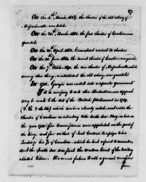 United States Congress to American Peace Commissioners, August 1782, Instructions; Fisheries; Indian Affairs; Canada; with Copy