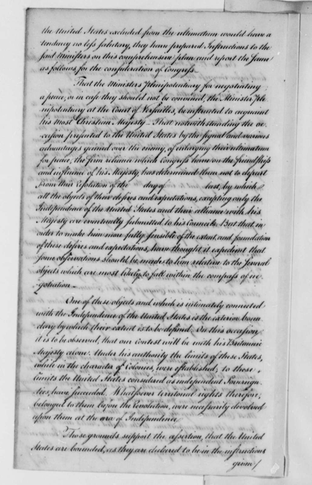 """United States Congress to American Peace Commissioners, August 1782, """"Report of Instructions to Ministers for Negotiating Peace"""""""