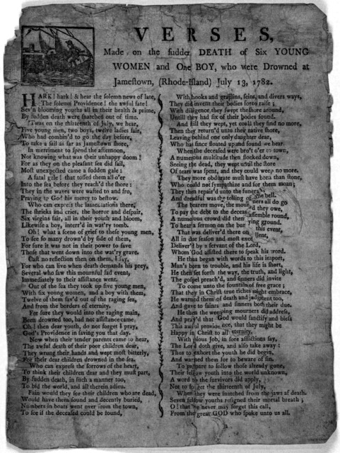 Verses, made on the sudden death of six young women and one boy, who were drowned at Jamestown, (Rhode-Island) July 13, 1782. [Newport. R. I. 1782].