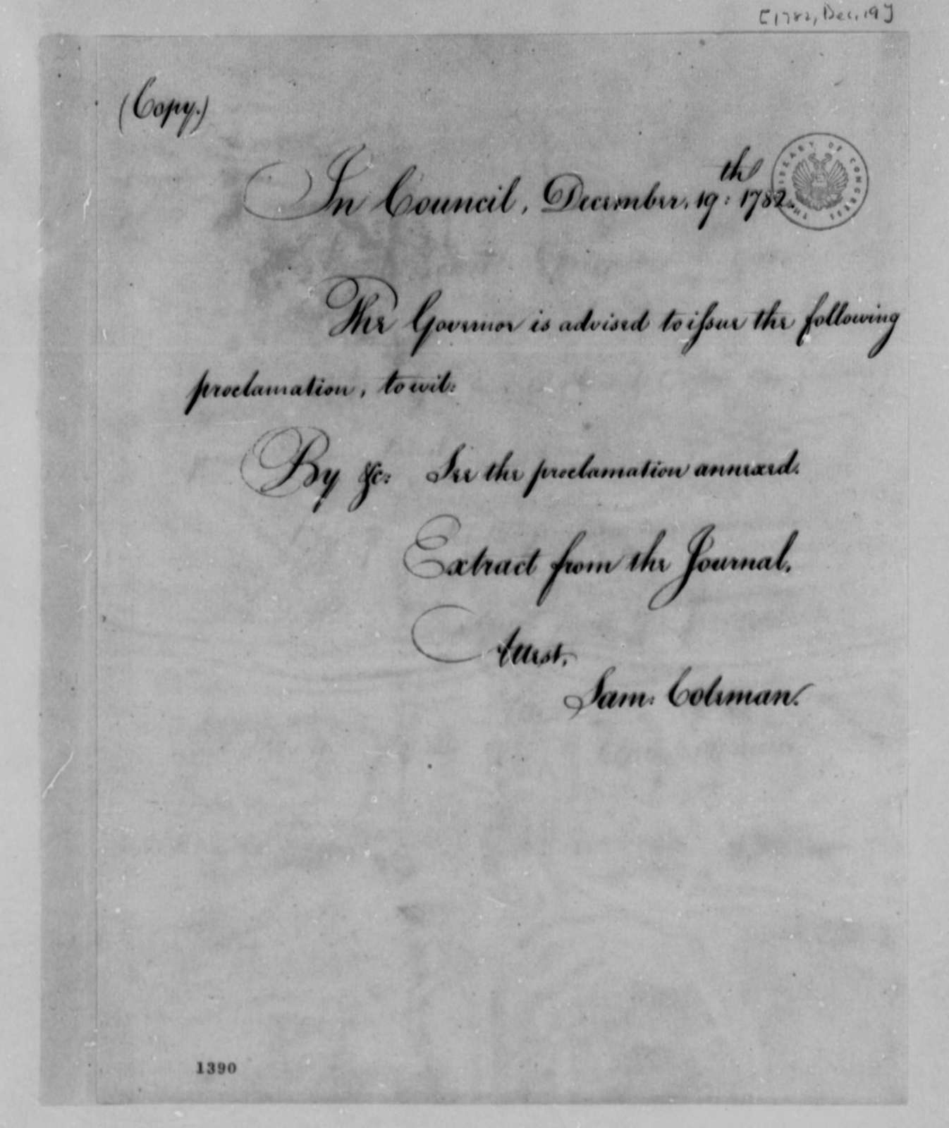 Virginia Council to Thomas Jefferson, December 19, 1782, Cover Letter Sent with Proclamation; with Copy