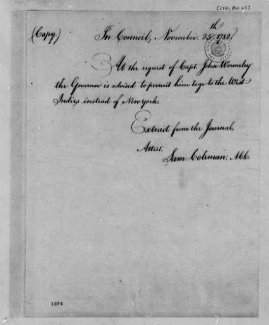 Virginia Council to Thomas Jefferson, November 25, 1782, Travel Permit for John Wormeley; with Copy