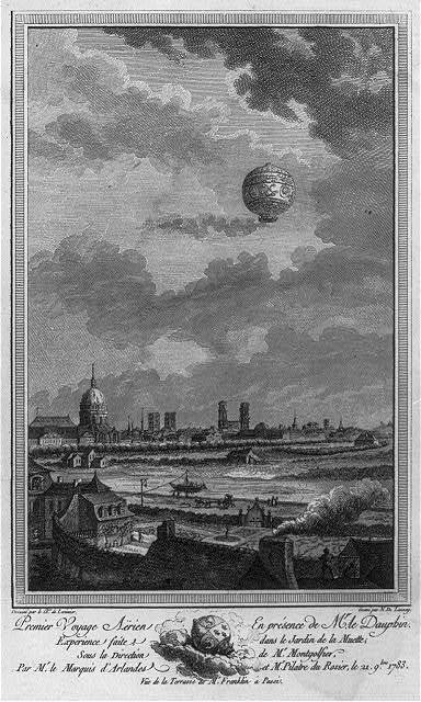 [1st human balloon ascension; balloon with Pilatre de Rozier and Marquis d'Arlandes above Paris. Nov. 1783]