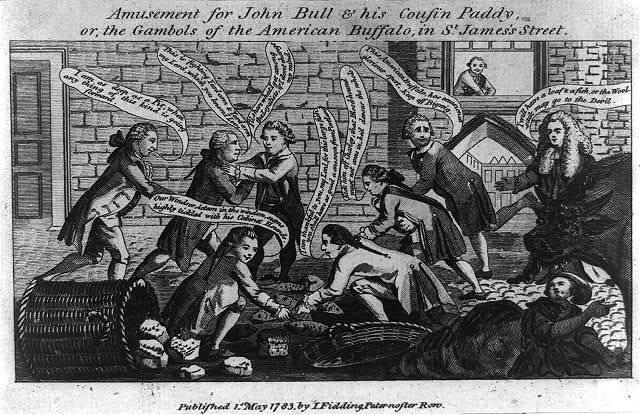 Amusement for John Bull & his cousin Paddy, or, the gambols of the American buffalo, in St. James's Street