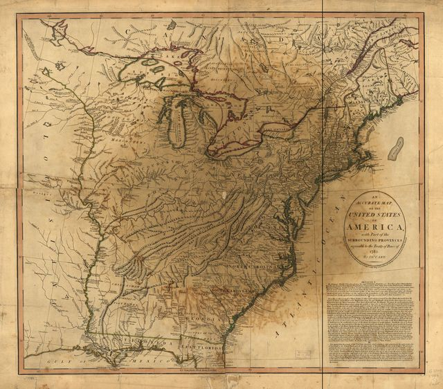 An accurate map of the United States of America, with part of the surrounding provinces agreeable to the Treaty of Peace of 1783,