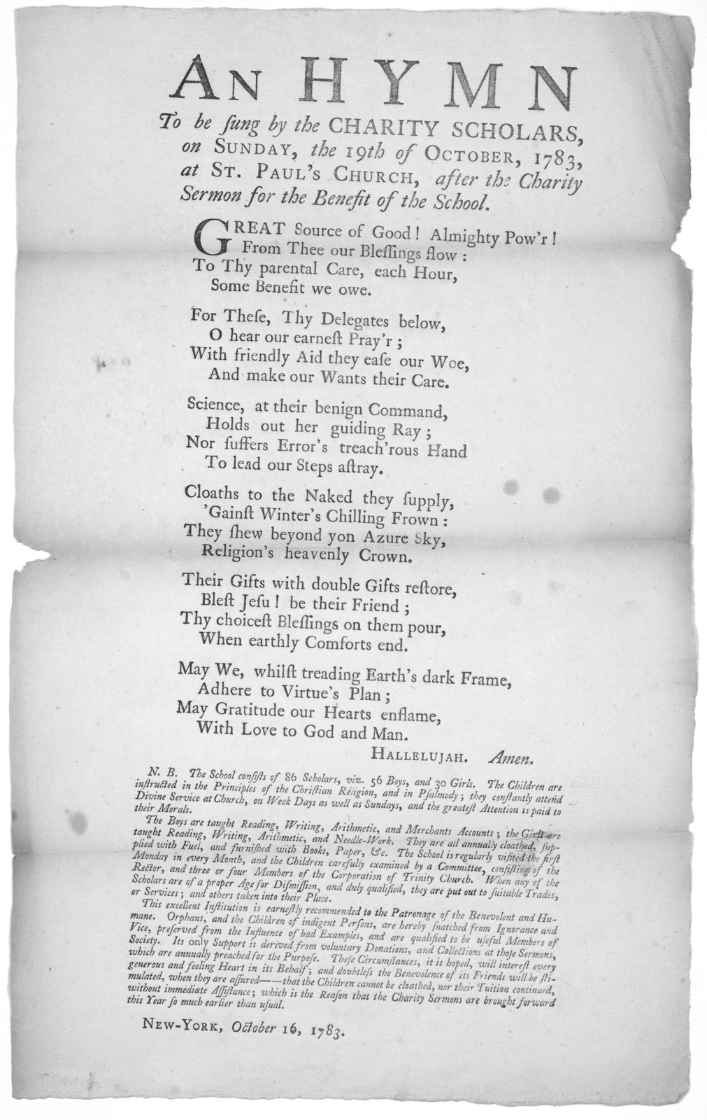 An hymn to be sung by the Charity scholars, on Sunday, the 19th of October, 1783, at St. Paul's church, after the Charity sermon for the benefit of the school ... New-York, October 16, 1783.
