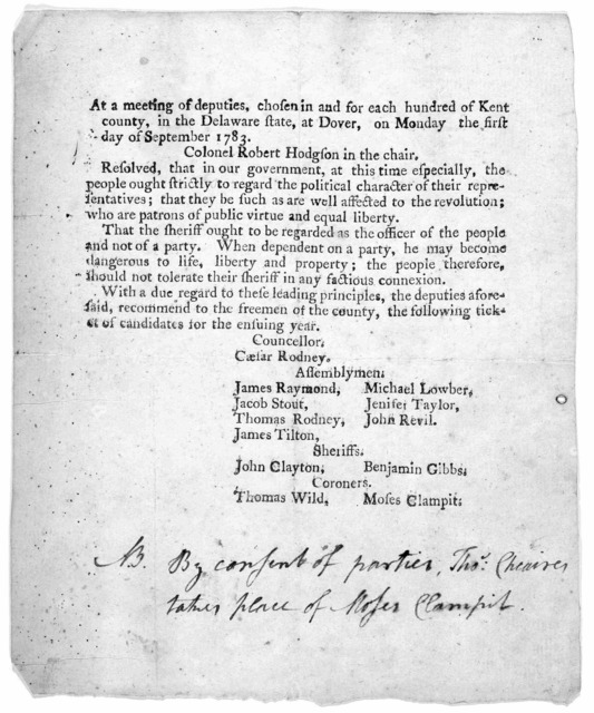 At a meeting of deputies, chosen in and for each hundred of Kent county, in the Delaware state, at Dover, on Monday the first day of September 1783 [Recommending list of candidates for the ensuing year]. [Dover? 1783].