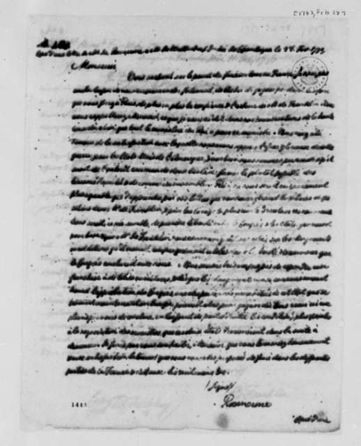 Baron Rosencrone to Baron Walterstorff, February 28, 1783, in French