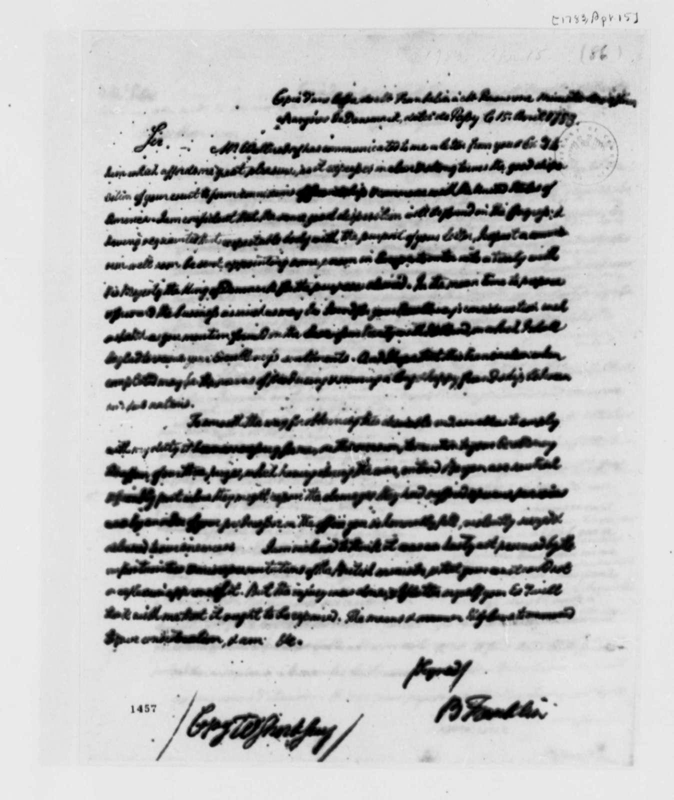Benjamin Franklin to Baron Rosencrone, April 15, 1783