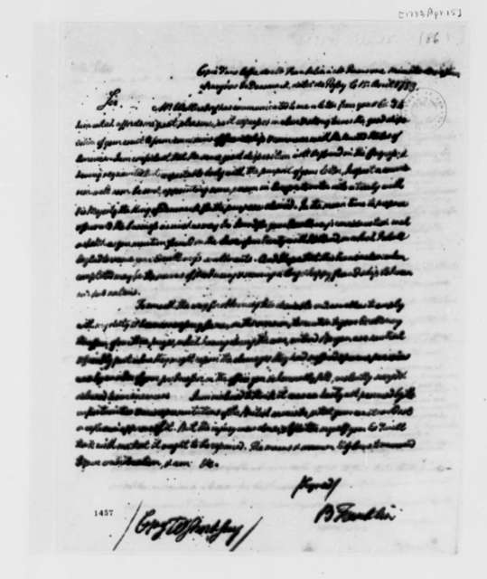 Benjamin Franklin to Baron Rosencrone, April 15, 1783