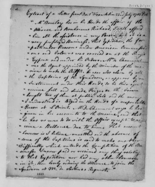 Benjamin Franklin to Robert R. Livingston, July 22, 1783, Extract