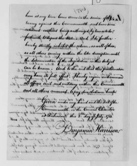 Benjamin Harrison, July 2, 1783, Proclamation Ordering Enemy Aliens Out of Virginia; Andrew Johnston, et al; with Copy