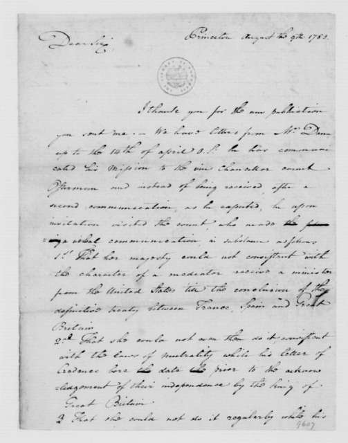 Benjamin Hawkins to James Madison, August 31, 1783.