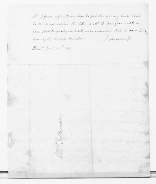Benjamin Rush to Thomas Jefferson, January 24, 1783. with Jan. 25th note from James Madison.