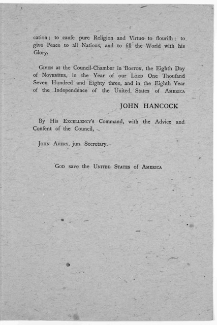 Boston. November 10. By His Excellency, John Hancock, Esq; Governor of the Commonwealth of Massachusetts. A proclamation for a day of Thanksgiving ... I do by and with the advice of the Council appoint Thursday the eleventh day of December next