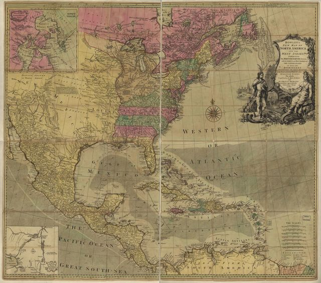 Bowles's new map of North America and the West Indies, exhibiting the British Empire therein with the limits and boundaries of the United States as also the dominions possessed in that quarter, by the Spaniards, the French & other European states, the whole compiled from the best surveys and authentic memoirs which have appeared to the present year, 1783.
