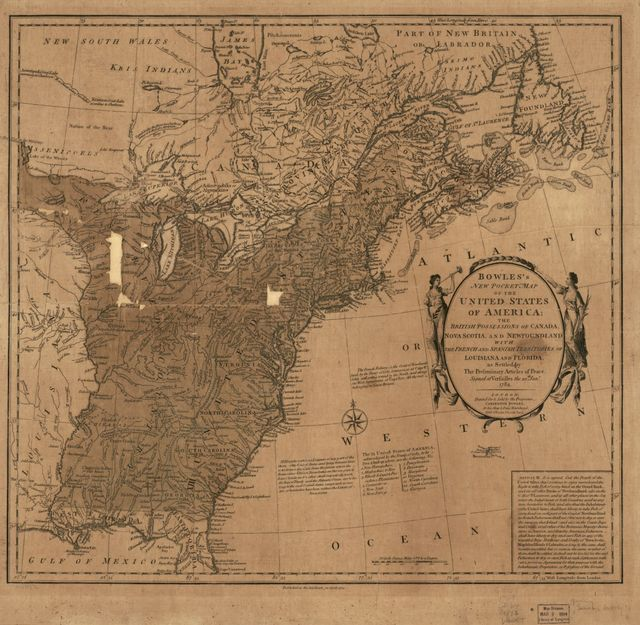 Bowles's new pocket map of the United States of America; the British possessions of Canada, Nova Scotia, and Newfoundland, with the French and Spanish territories of Louisiana and Florida, as settled by the preliminary articles of peace signed at Versailles the 20th. Jany. 1783.