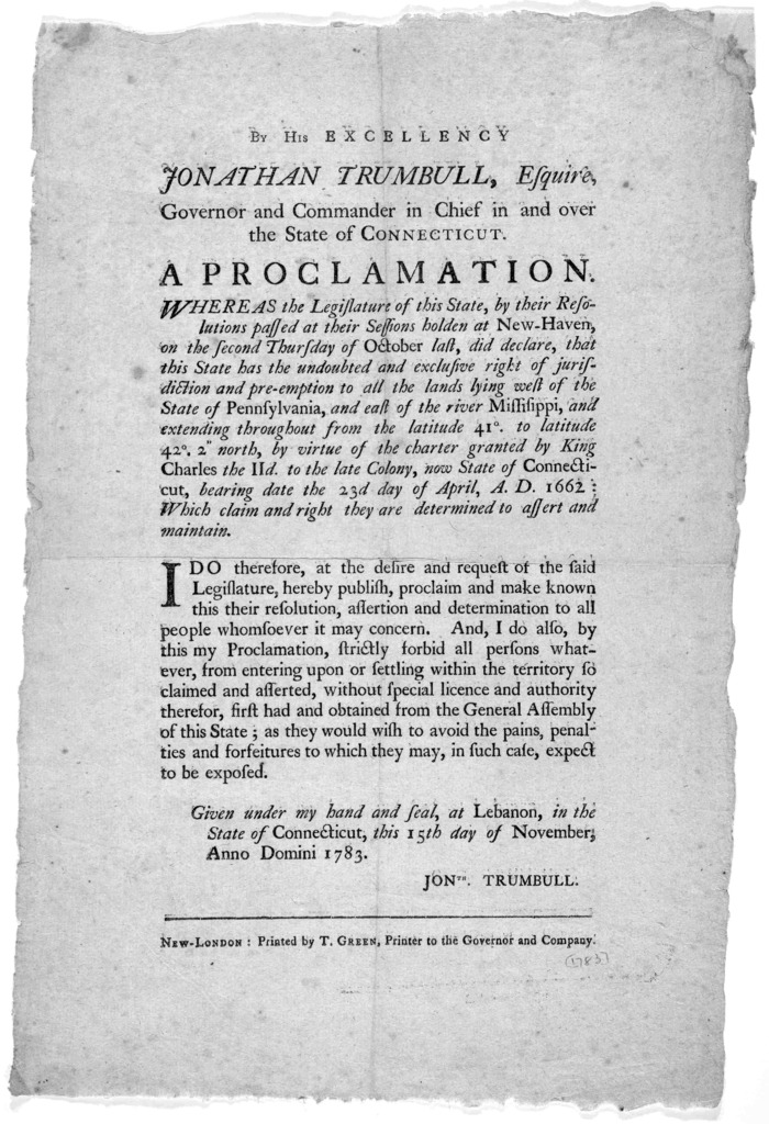 By his excellency Jonathan Trumbull, Esquire, Governor and Commander in chief in and over the State of Connecticut. A proclamation. Whereas the legislature of this state, by their resolutions passed at their sessions holden at New-Haven ... Give