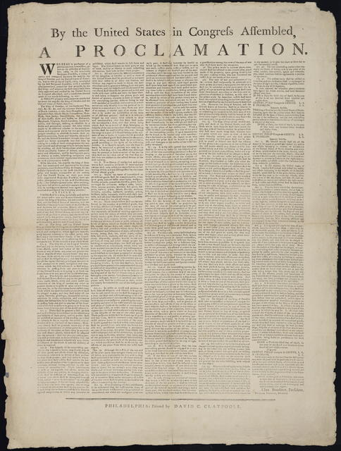 By the United States in Congress assembled, a proclamation : Whereas in pursuance of a plenipotentiary commission, given on the 28th day of September, 1782, to the Honorable Benjamin Franklin, a treaty of amity and commerce between His Majesty the King of Sweden and the United States of America, was on the 3rd day of April, 1783, concluded ...
