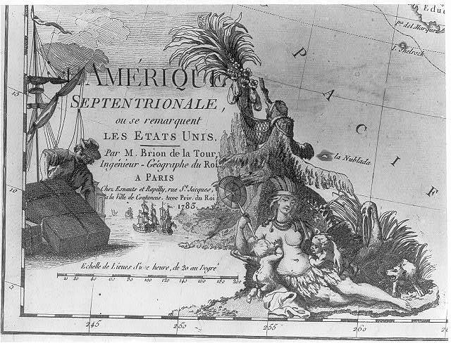 [Cartouche showing a Native woman, representing America, nursing infants in a tropical setting with scenes of commerce in the background]