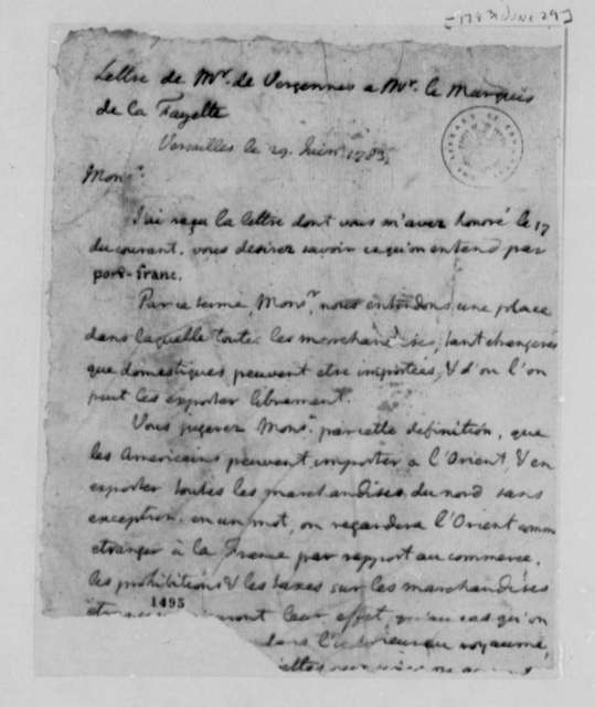 Charles Gravier, Comte de Vergennes to Marie Joseph Paul Yves Roch Gilbert du Motier, Marquis de Lafayette, June 29, 1783