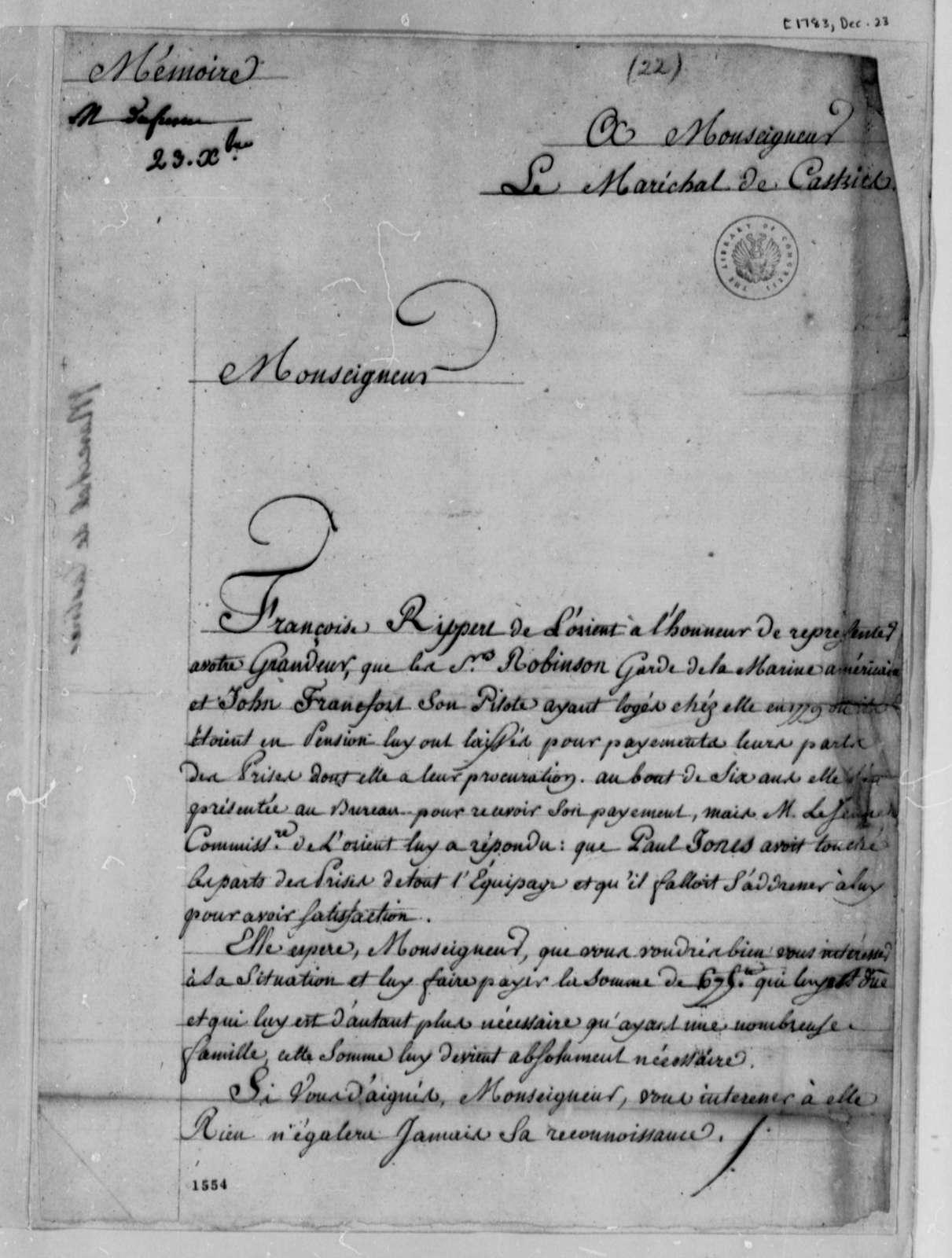 Charles, Marquis de Castries to Thomas Jefferson, December 23, 1783