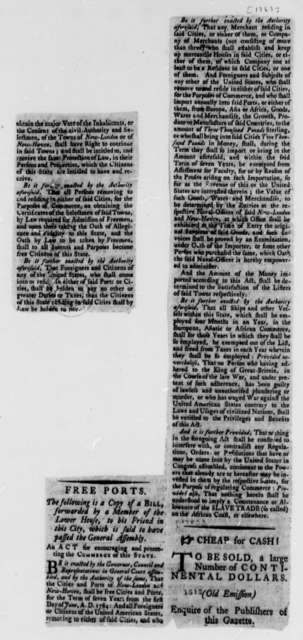 Connecticut General Assembly, 1783, Newspaper Clippings of Resolution Designating New London and New Haven as Free Ports