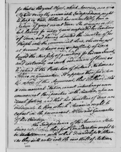 David Hartley, June 1, 1783, Memorial on Commercial Treaty with Great Britain