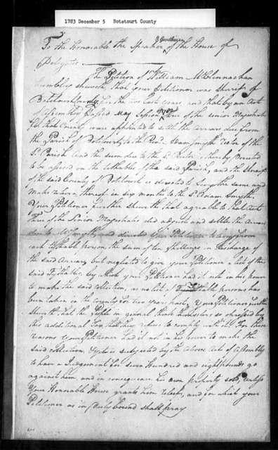 December 5, 1783, Botetourt, William McClennachan, former Botetourt sheriff, regarding uncollectable salary arrears due Reverend Adam Smyth.