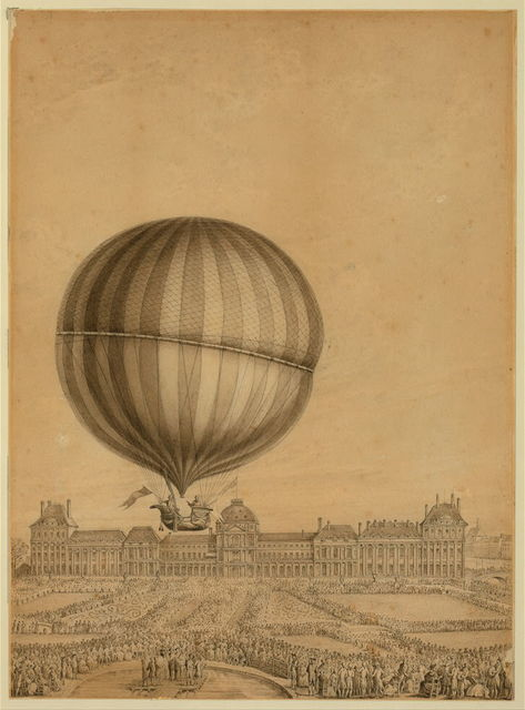 [Departure of Jacques Charles and Marie-Noel Robert's 'aerostatic globe' balloon from the Jardin des Tuileries, Paris, on Dec. 1, 1783]
