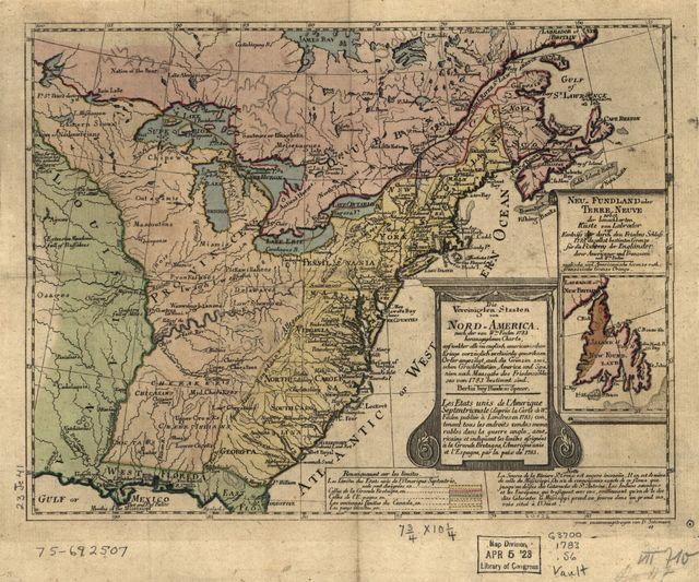 Die Vereinigten Staaten von Nord-America, nach der von Wm. Faden 1783 herausgegebenen Charte, auf welcher alle im englisch americanischen Kriege vorzüglich merkwürdig gewordenen Örter angezeigt, auch die Grenzen zwischen Grosbrittanien, America und Spanien nach Maasgabe des Friedensschulusses von 1783 bestimmt sind. Les États Unis de l'Ámerique Septentrionale ...