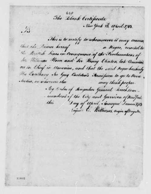 E. Williams, April 23, 1783, Blank Certificate of Negro Permissions to Nova Scotia