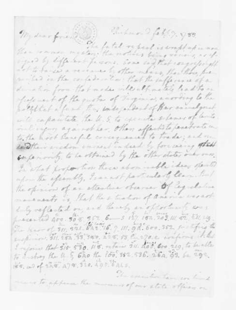 Edmund Randolph to James Madison, February 7, 1783. Partly in Cipher.