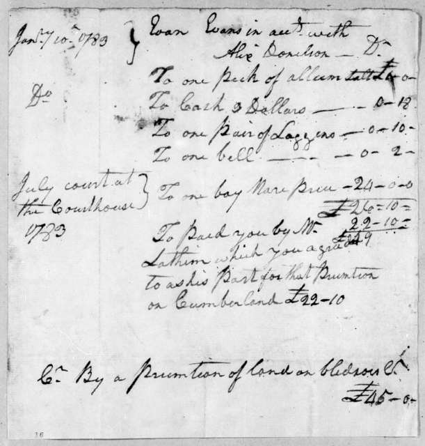 Evan Evans to Alix Donelson, January 10, 1783