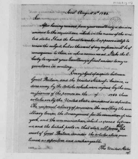 Friedrich Wilhelm, Baron von Steuben to Frederick Haldimand, August 11, 1783, with Copy