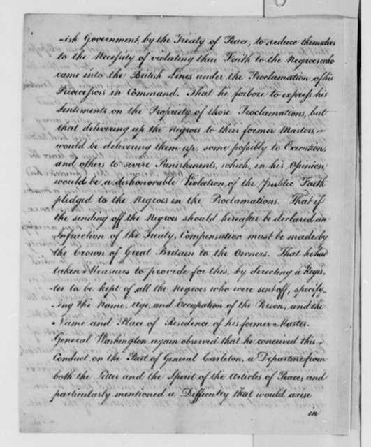 George Washington and Guy Carleton, Earl of Dorchester, May 6, 1783, Report on Conference at Orange Town; Prisoners of War, etc.