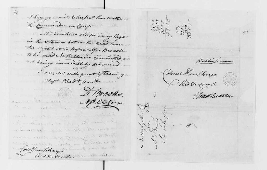 George Washington Papers, Series 4, General Correspondence: David Brooks to David Humphreys, March 8, 1783