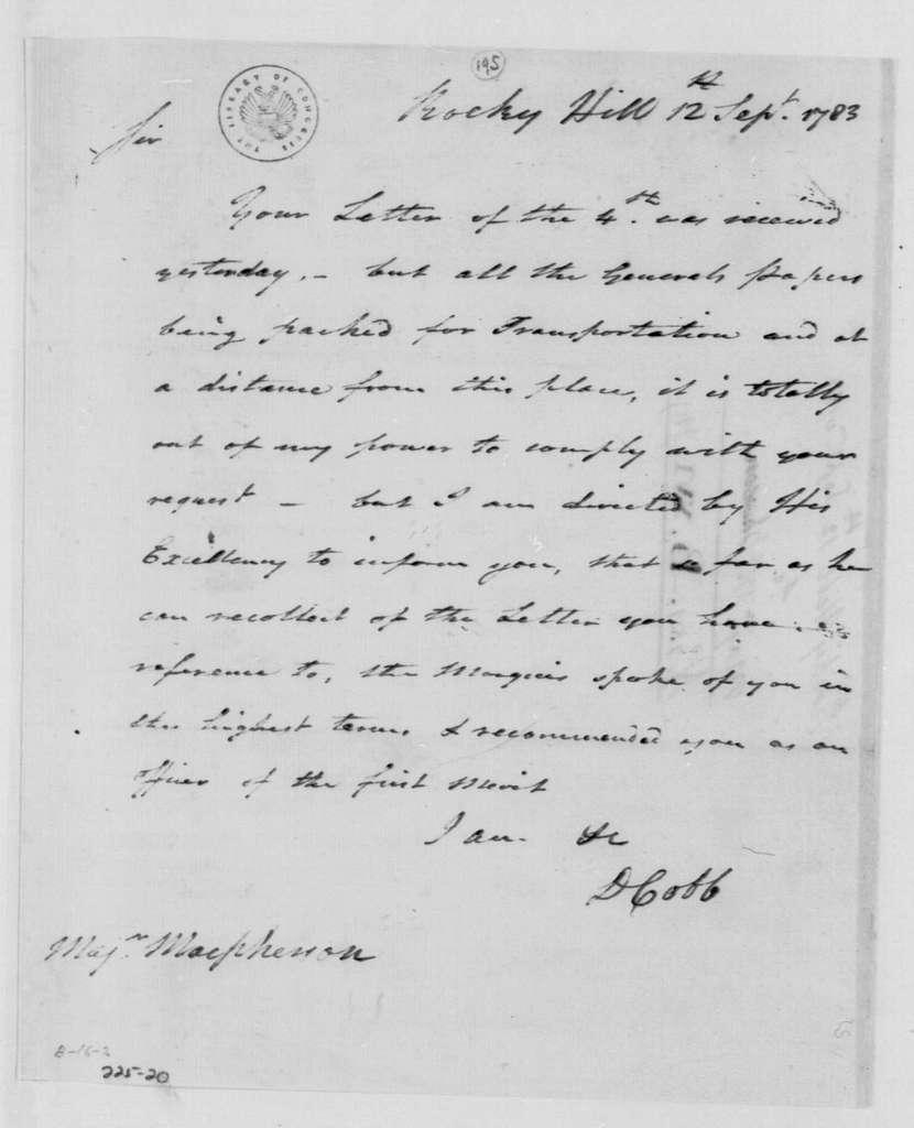 George Washington Papers, Series 4, General Correspondence: David Cobb to William MacPherson, September 12, 1783