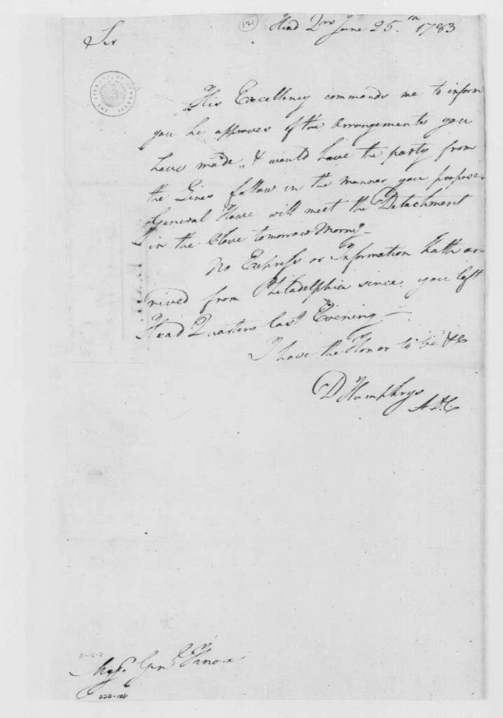 George Washington Papers, Series 4, General Correspondence: David Humphreys to Henry Knox, June 25, 1783
