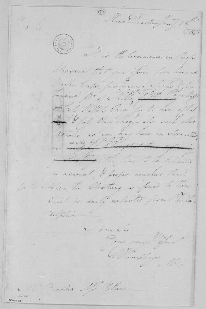 George Washington Papers, Series 4, General Correspondence: David Humphreys to David Brooks, January 18, 1783