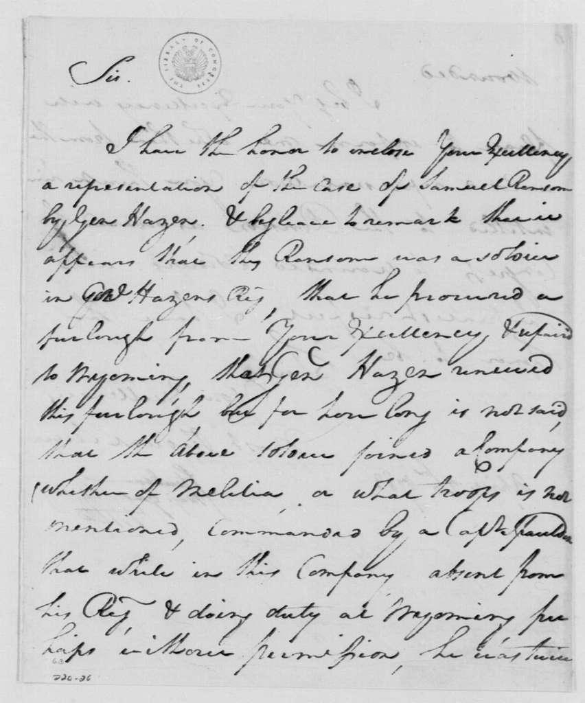 George Washington Papers, Series 4, General Correspondence: Friedrich Wilhelm, Baron von Steuben to George Washington, April 26, 1783