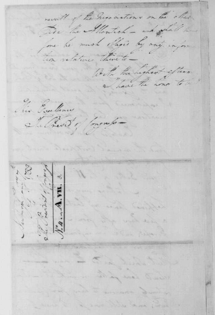 George Washington Papers, Series 4, General Correspondence: George Washington to Continental Congress, January 7, 1783