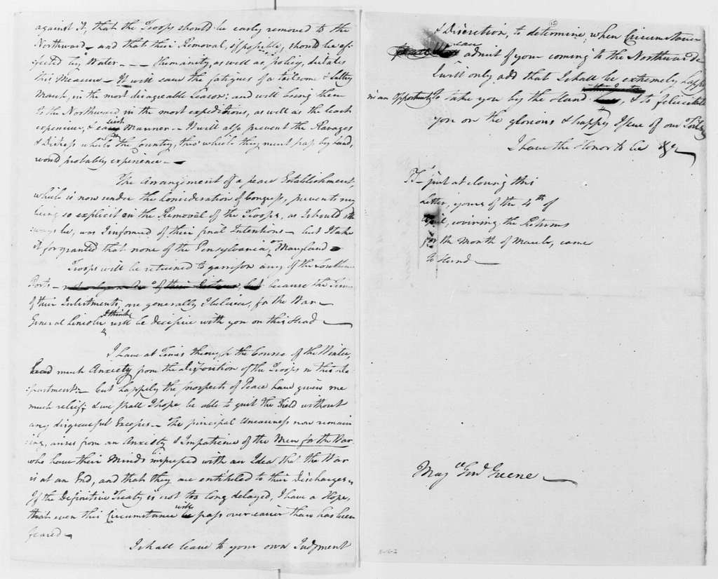 George Washington Papers, Series 4, General Correspondence: George Washington to Nathanael Greene, May 18, 1783